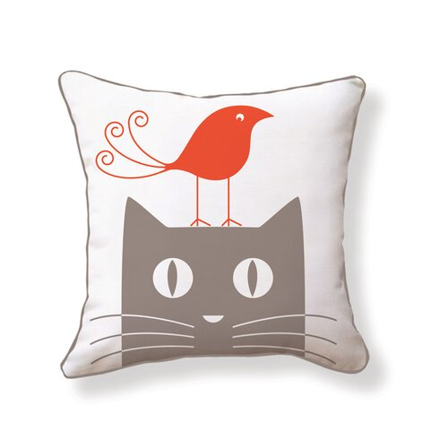 Naked Decor Cat and Bird Double Sided Cotton Pillow