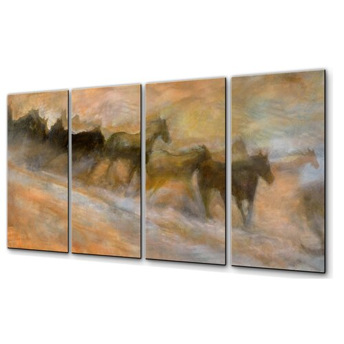 All My Walls 'Mustangs Racing' by Kip Decker 4 Piece Original Painting on Metal Plaque Set Set