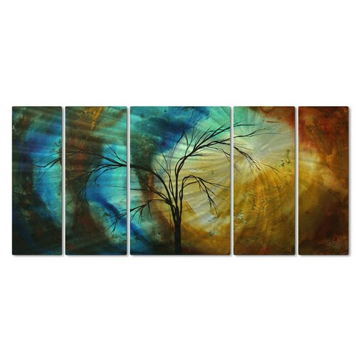 All My Walls 'New Season' by Megan Duncanson 5 Piece Original Painting on Metal Plaque Set