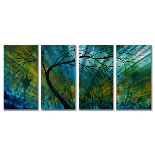 'Spring Movement' by Megan Duncanson 4 Piece Original Painting on Metal Plaque Set