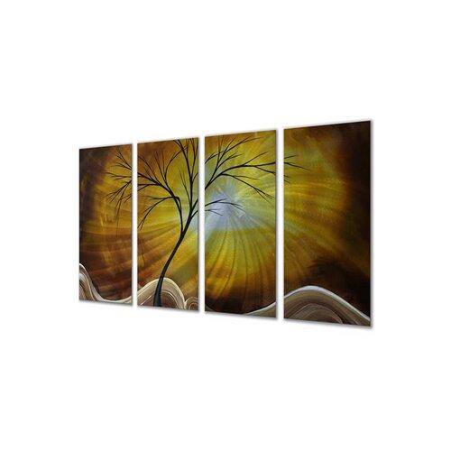 All My Walls 'Golden Sky' by Megan Duncanson 4 Piece Original Painting on Metal Plaque Set