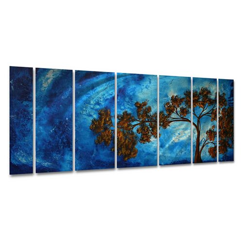 All My Walls 'To The Sky Ii' by Megan Duncanson 7 Piece Original Painting on Metal Plaque Set