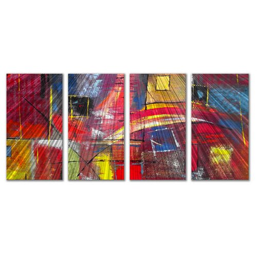 'Color Blocks' by Ruth Palmer 4 Piece Original Painting on Metal Plaque Set