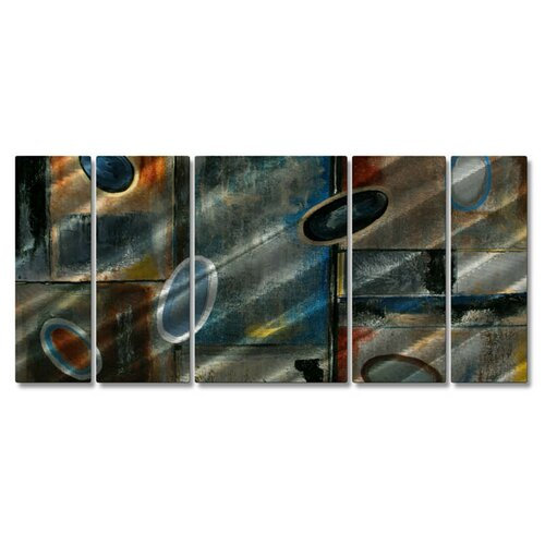'Subtle Ovals' by Ruth Palmer 5 Piece Original Painting on Metal Plaque Set