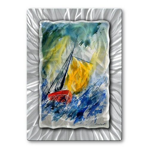 'Sailing Boat' by Pol Ledent Original Painting on Metal Plaque