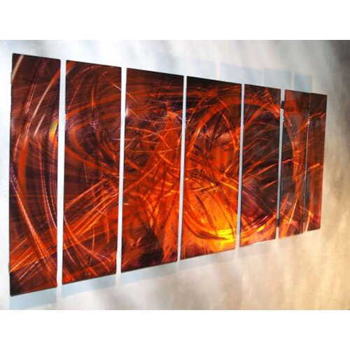 All My Walls 'Abstract' by Ash Carl 7 Piece Original Painting on Metal Plaque Set