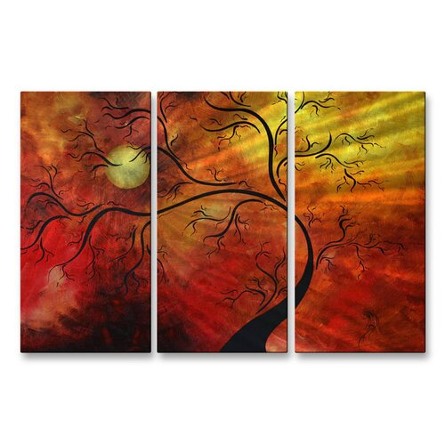 All My Walls 'Sunshine Growth' by Megan Duncanson 3 Piece Original Painting on Metal Plaque Set
