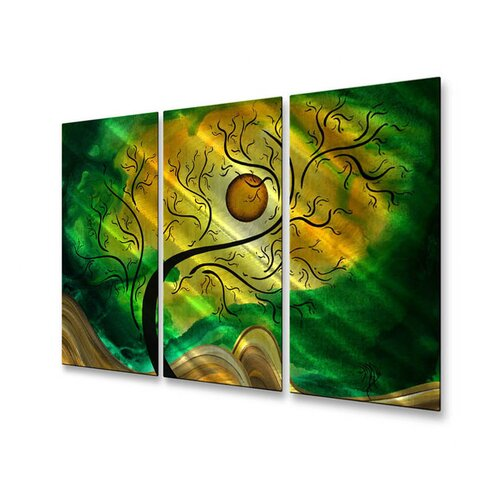 All My Walls 'Opening' by Megan Duncanson 3 Piece Original Painting on Metal Plaque Set