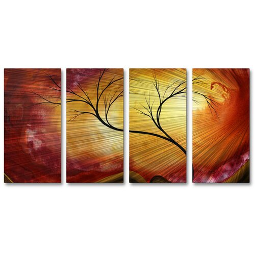 All My Walls 'Celestial Warmth' by Megan Duncanson 4 Piece Original Painting on Metal Plaque Set