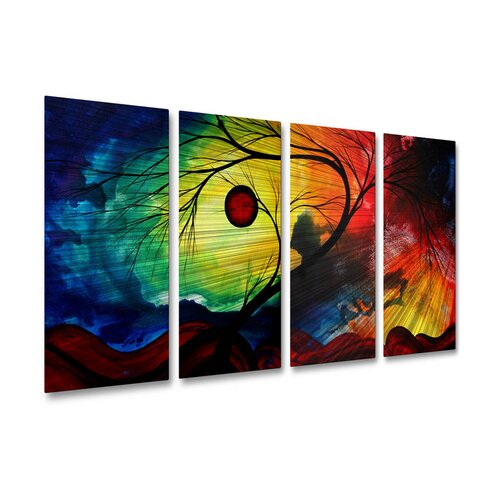 All My Walls 'Rainbow Night' by Megan Duncanson 4 Piece Original Painting on Metal Plaque Set