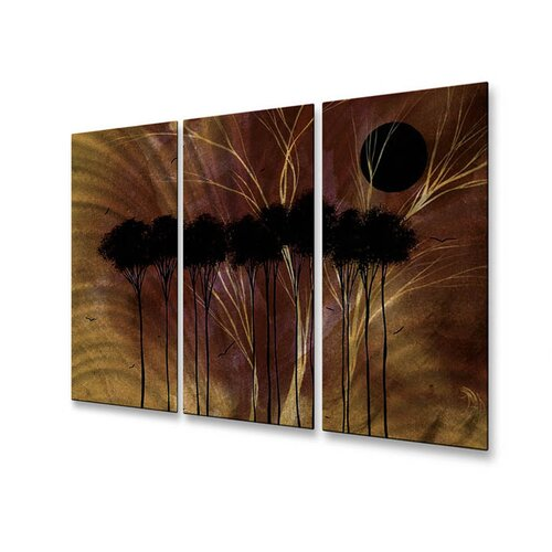 All My Walls 'Esoteric Season' by Megan Duncanson 3 Piece Original Painting on Metal Plaque Set