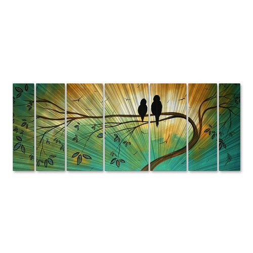 All My Walls 'Blossoming in The Sun' by Megan Duncanson 7 Piece Original Painting on Metal Plaque Set