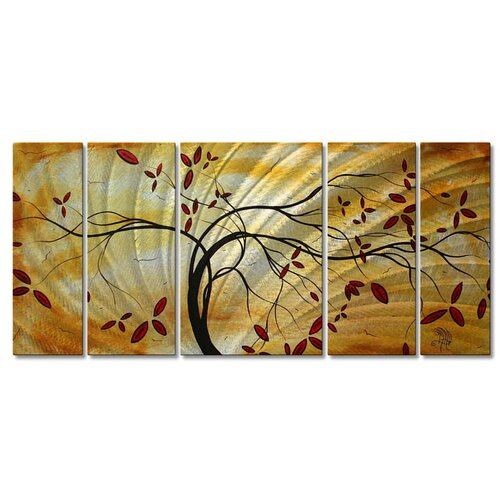 All My Walls 'Golden Opportunity' by Megan Duncanson 5 Piece Original Painting on Metal Plaque Set
