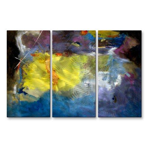 'Aqua Grotto' by Ruth Palmer 3 Piece Original Painting on Metal Plaque Set