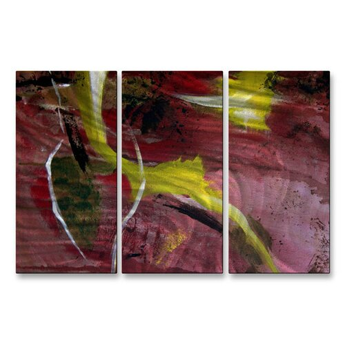 'New Life' by Ruth Palmer 3 Piece Original Painting on Metal Plaque Set