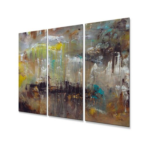 All My Walls 'It's Rainy Outside' by Mary Lea Bradley 3 Piece Original Painting on Metal Plaque