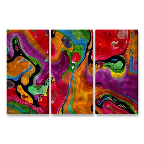 All My Walls 'Happy Eye' by Jerry Clovis 3 Piece Original Painting on Metal Plaque