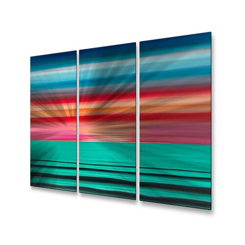 All My Walls 'Sea The Magenta' by Jerry Clovis 3 Piece Original Painting on Metal Plaque
