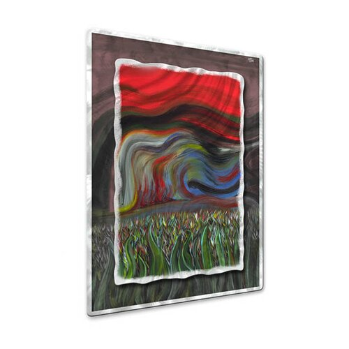 All My Walls 'Beyond The Grass II' by Jerry Clovis Original Painting on Metal Plaque