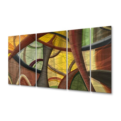 All My Walls 'Structures of Wow' by Jerry Clovis 5 Piece Original Painting on Metal Plaque