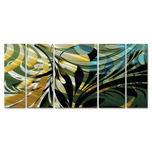 'Jungle II' by Ash Carl 5 Piece Original Painting on Metal Plaque