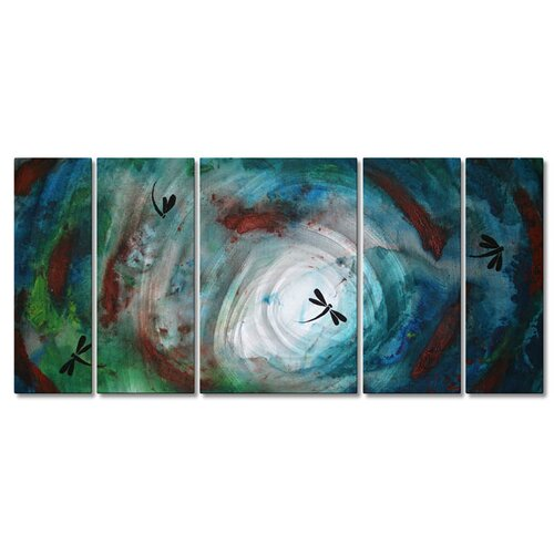 All My Walls 'Blown Aloft' by Megan Duncanson 5 Piece Original Painting on Metal Plaque Set