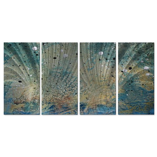 All My Walls 'On The Beach III' by Megan Duncanso 4 Piece Original Painting on Metal Plaque