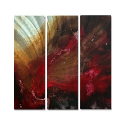 All My Walls 'The Rush' by Megan Duncanso 3 Piece Original Painting on Metal Plaque