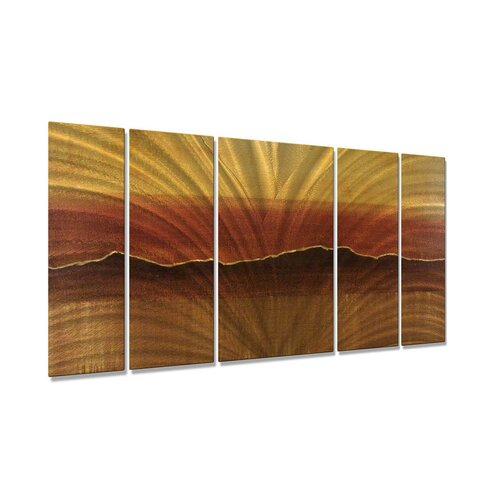 All My Walls 'Tuscan Sun' by Justin Strom 5 Piece Original Painting on Metal Plaque Set