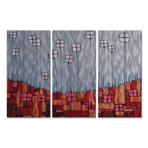 'Receptacles' by Lili Vanderlaan 3 Piece Original Painting on Metal Plaque Set