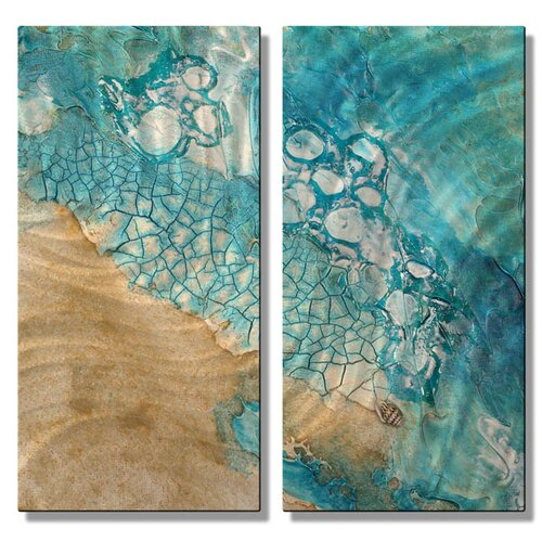'Tide Pools' by Kelli Money Huff 2 Piece Original Painting on Metal Plaque Set