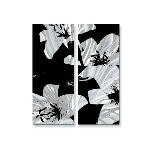 'Black Lilies' by Ruth Palmer 2 Piece Original Painting on Metal Plaque Set