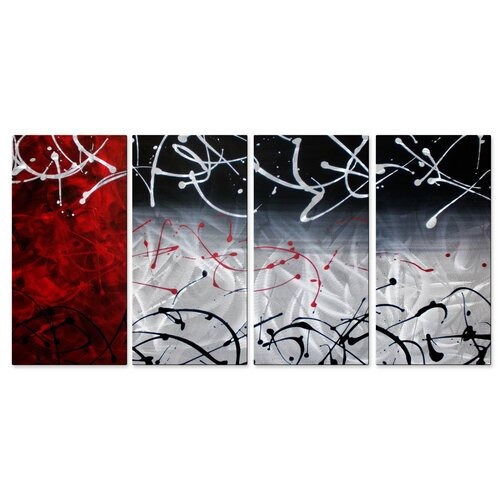 All My Walls 'Final Moments' by Justin Strom 4 Piece Original Painting on Metal Plaque Set