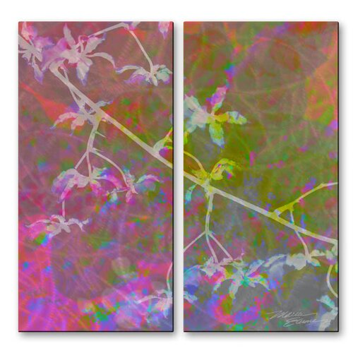 All My Walls 'Orchid II' by Maria Eames 2 Piece Original Painting on Metal Plaque Set