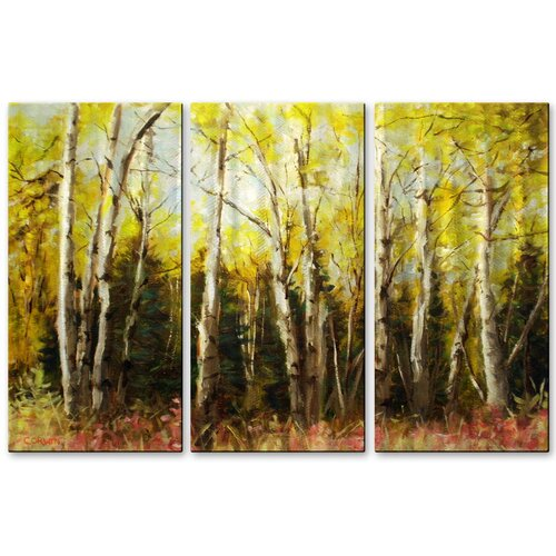 'Alaskan Birch' by James Corwin 3 Piece Original Painting on Metal Plaque Set