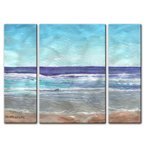 'Bright Surf' by Keith Wilke 3 Piece Original Painting on Metal Plaque Set