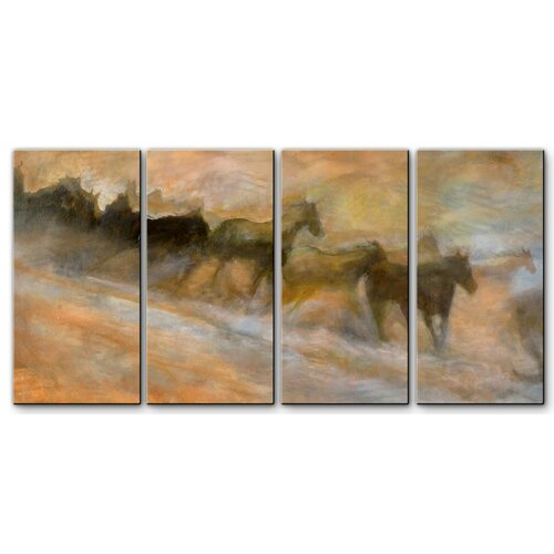 'Mustangs Racing' by Kip Decker 4 Piece Original Painting on Metal Plaque Set Set