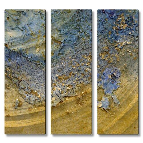 All My Walls 'Beach' by Kelli Money Huff 3 Piece Original Painting on Metal Plaque Set