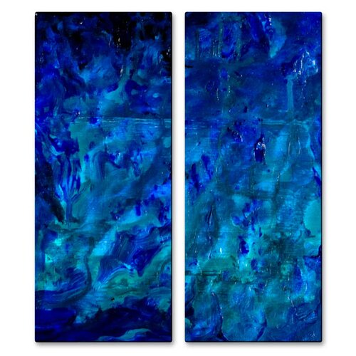 All My Walls 'Under The Sea' by Angelika Mehrens 2 Piece Original Painting on Metal Plaque Set