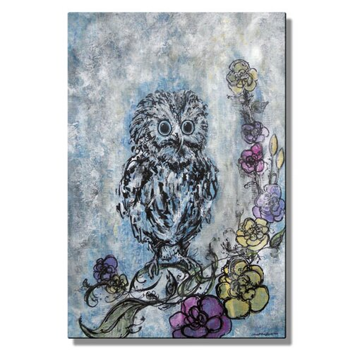 'Baby Owl Dreams in Color' by Christina Loraine Original Painting on Metal Plaque