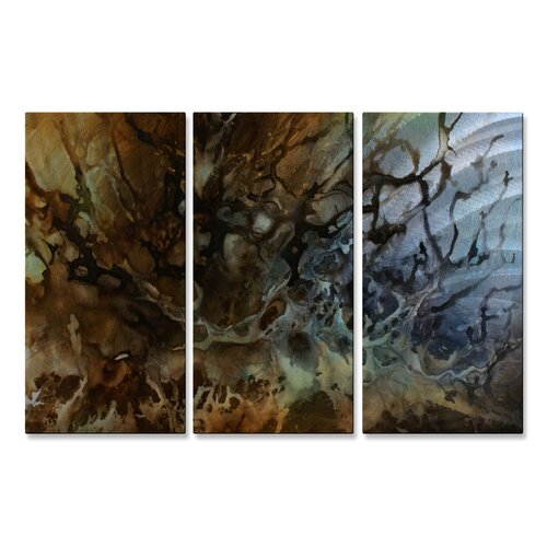 'Splash' by Michael Lang 3 Piece Original Painting on Metal Plaque Set