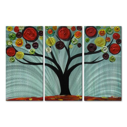 'Vivid Swirl Tree' by Danlye Jones 3 Piece Original Painting on Metal Plaque Set