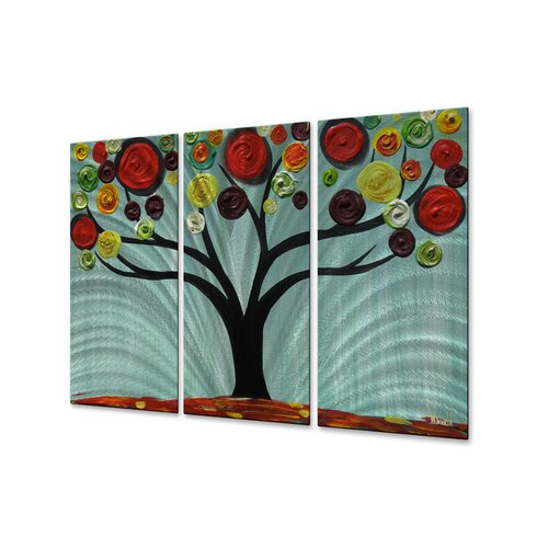 All My Walls 'Vivid Swirl Tree' by Danlye Jones 3 Piece Original Painting on Metal Plaque Set