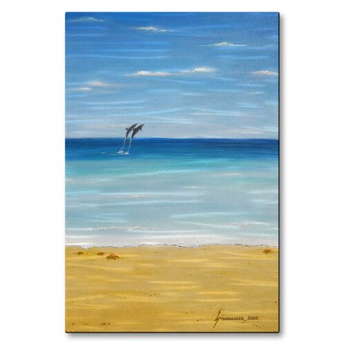 'Dolphin Beach' byJerome Stumphauzer Original Painting on Metal Plaque
