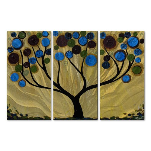 'Blue Swirl Tree' by Danlye Jones 3 Piece Original Painting on Metal Plaque Set
