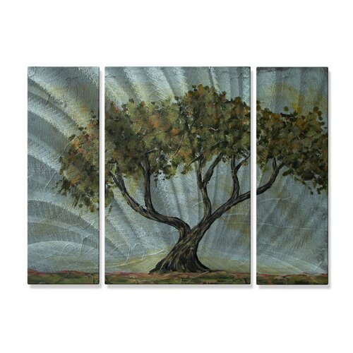 'Cypress Tree' by Danlye Jones 3 Piece Original Painting on Metal Plaque Set