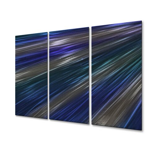 All My Walls 'Blue Rays Of Light IV' by Ash Carl 3 Piece Original Painting on Metal Plaque