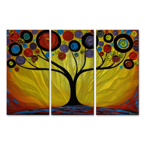 'Sunset Swirl Tree' by Danlye Jones 3 Piece Original Painting on Metal Plaque Set