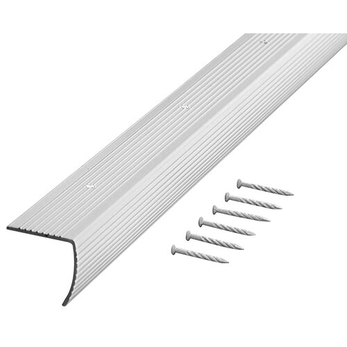"""M-d Products 1.13"""" Fluted Stair Edging in Silver"""