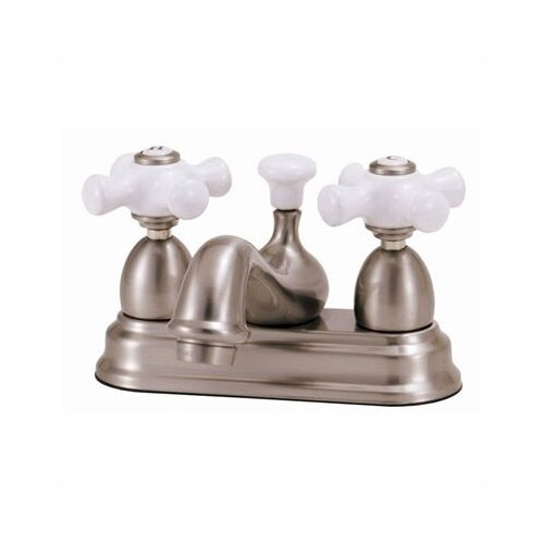 Elizabethan Classics Centerset Bathroom Faucet with Double Porcelain Cross Handles